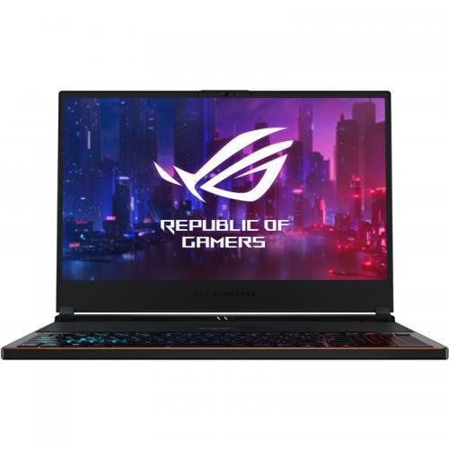 Laptop ASUS ROG Zephyrus S GX531GXR-AZ033T, Intel Core i7-9750H, 15.6inch, RAM 16GB, SSD 512GB, nVidia GeForce RTX 2080 8GB, Windows 10, Black