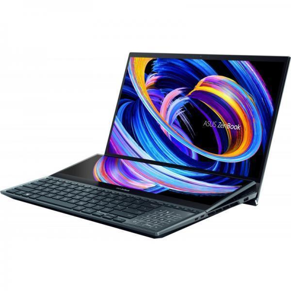 Laptop ASUS ZenBook Pro Duo OLED UX582LR-H2017R, Intel Core i7-10870H, 15.6inch UHD OLED Touch, RAM 32GB, SSD 1TB, nVidia GeForce RTX 3070 8GB, Windows 10 Pro, Celestial Blue
